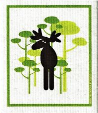 "Swedish Dish Cloth ""Moose,"" Made in Sweden by Pluto 6.75"" X 8"" Super Abxorbant"