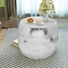Metal Silver Coffee Table Drum Shaped Side Sofa Unit Vintage Room End Lamp Stand