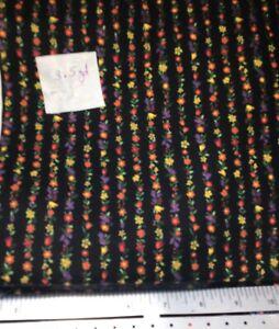 Vintage Floral Stripe on Black Cotton Fabric 2 Yards