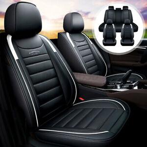Waterproof Universal Full Car SUV Sedan Seat Covers 5-Seats PU Leather White AU