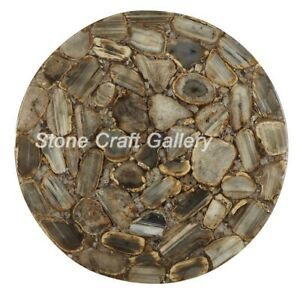 "18"" Agate Side Table Top Natural stones pietradura Handmade Work Home Decor"