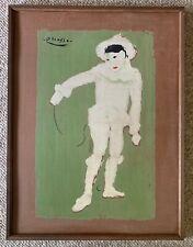 Vintage Picasso White Clown Lithograph Print Modern Art Le Petite Pierrot Framed
