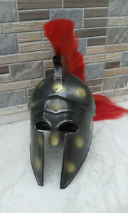 Medieval Knight King Spartan Corinthian Armor Helmet W/Red Plume Halloween Item
