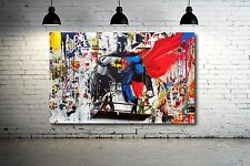 Grafitti art Batman vs. Superman 24 x 18 Canvas Print Giclee