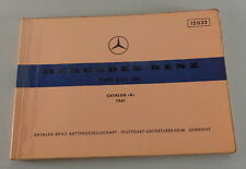 Catalogue Catalogue des Pièces Mercedes Benz Aileron W111 220 Seb Support 1961
