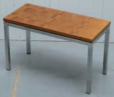 STUNNING TEAK AND CHROME CONTEMPORARY SMALL COFFEE TABLE MID CENTURY STYLING