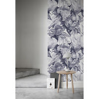 Grey Floral wall Wall Mural Flowers self adhesive Watercolor removable wallpaper