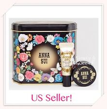 ANNA SUI Gift Box Tin Box A Flower Make Up Case +2 Mini Trial Primer, US Seller!