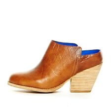 NEW 6.5 Jeffrey Campbell Vinton Brown Distressed Leather Slip On Mule Boot $150