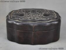 China Redwood carved auspicious wealth bat peach statue Storage jewelry box case