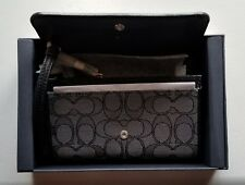 New Womens Coach Black jacquard Signature Phone Clutch Wristlet