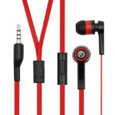 RED FLAT CORD 3.5MM BULLET STEREO EARBUDS HANDSFREE EARPIECE FOR GALAXY S8 PLUS