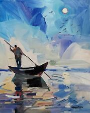 JOSE TRUJILLO IMPRESSIONISM OIL PAINTING 16X20 LARGE CONTEMPORARY BOAT MOON NR