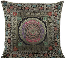 "18"" Indian Mandala Traditional Cushion Pillow Cover Brocade Sofa Throw Black"