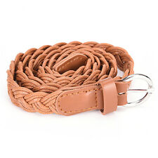Charm Leather Weave Belts Women Braided Belt Slim Casual Waistband Girdle EF