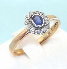 Anello Art Deco Oro 22K e Platino - Zaffiro blu 12 Diamanti - anni 30