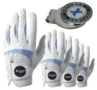XSpiders Mens golf glove 4 Packs Regular All-Cabretta Gift Golf Ball Marker Blue