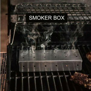 Stainless Steel Meat Smoking Smoker Box for BBQ Wood Chips Add Smokey Flavor