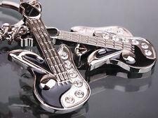 Crystal Zinc Alloy Guitar Pendant Key Chain Ring Keyring Keychain Keyfob Holder