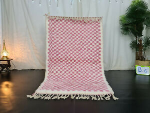 "Beni Ourain Moroccan Handmade Wool Rug 3'5""x5'6"" Checkered Berber Pink Carpet"