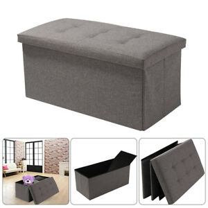 GREY LINEN FOLDING STORAGE OTTOMAN POUFFE SEAT FOOT STOOL STORAGE BOX UK