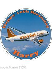 Personalised Aeroplane edible birthday cake topper  Easy Peel Icing round