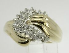 10k Yellow Gold Round Diamond Right Hand Cluster Ring .37ct