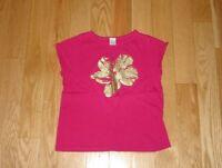 Girls J CREW CREWCUTS Spring Summer Short Sleeve Shirt Tee Pink w/ Flower 10 XXL