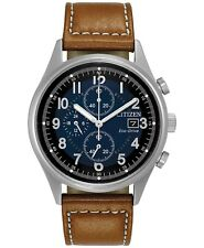 Citizen Eco-Drive Chronograph Blue Dial Brown Leather Men's Watch CA0621-05L