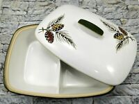 DENBY LANGLEY Vintage Conifer Divided Serving Casserole Dish w/ Lid Stoneware UK