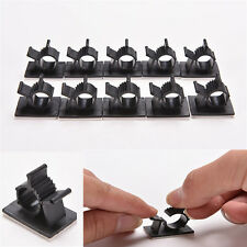 10x Cable Clips Adhesive Cord Management Black Wire Holder Organizer Clamp CHI