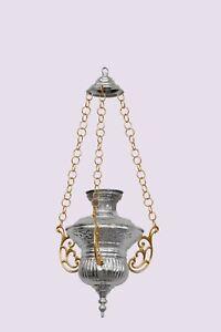 Lampada in metallo a sospensione argentata e dorata diametro cm 25x30