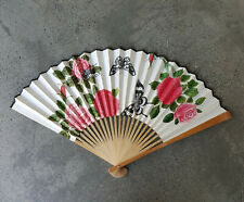 Large Vintage Oriental Chinese Peoples Republic Fan Rose Wall Decor Hanging Art
