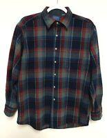 Pendleton Mens Large Plaid Wool Button Down Flannel Shirt Long Sleeve Pocket
