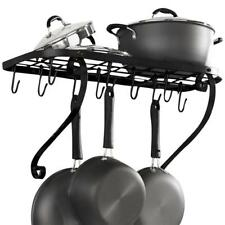 Wall Mount Pot Rack Pan Holder Cookware Storage Kitchen Hanger Shelf Organizer