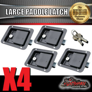 x4 Large Paddle Handle Lock Latch Black Powdercoated Caravan Ute Truck Toolbox