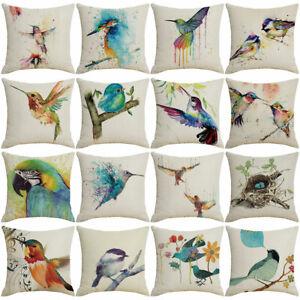 Hummingbird Flower Linen Throw Pillow  Cushion Cover Sofa Bed Home Decor Lat