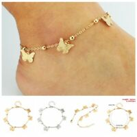 Gold Silver Ankle Bracelet Women Anklet Butterfly Chain Foot Beach Jewelry