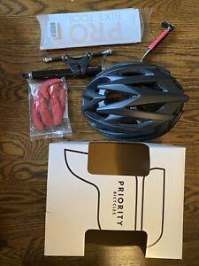 Priority Bicycle Helmet Black Pro Bike Tool Mini Pump With Gauge Set New
