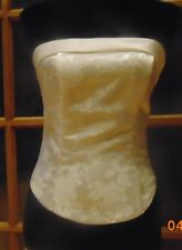 CREAM CORSET BUSTIER WEDDING BRIDAL FLORAL BROCADE SLEEVELESS STRAIGHT SIZE 10