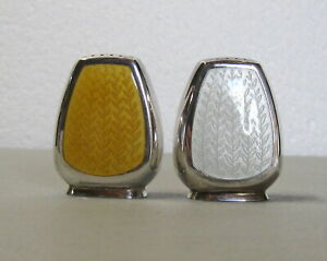 Michelsen Mid Century Sterling and Enamel Salt and Pepper Shakers