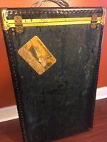 Vintage Mendel Tourist Wardrobe Steamer Trunk Luggage Cunard White Line Sticker