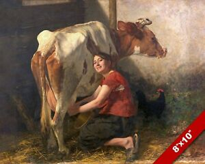 FARM GIRL MILKING A COW BEAUTIFUL MILK MAID PAINTING ART PRINT ON REAL CANVAS