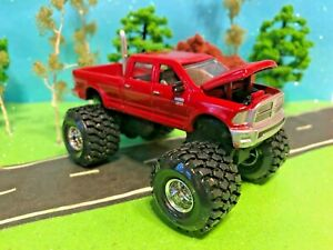 1/64 Custom Lifted Dodge Ram 2500, G-5 Lift Kit, Farm Toy, Nice Candy Apple Red