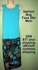 20W Blue Black Floral Faux 2fer Maxi Dress Fashion Bug