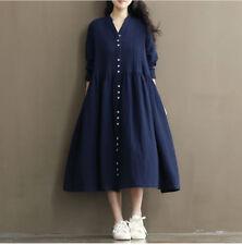 Women Cotton Linen Shirt Dress Long Sleeve Loose Lolita Fairy Princess Gown