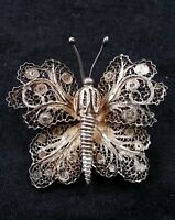 Antique filigree butterfly brooch sterling silver