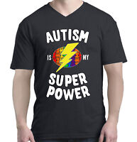 Autism Is My Super Power Men V-Neck Autism Awareness Month Shirts