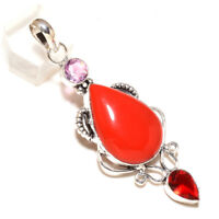 """Red Coral, Red Garnet Handmade Ethnic Style Jewelry Pendant 2.98"""""""