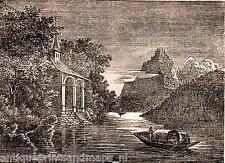 Antique print William Tell chapel Uri Switzerland 1835 Tellskapelle holzstich